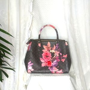 GUESS 'Ashville' AS IS -Black & Pink Floral Handbag